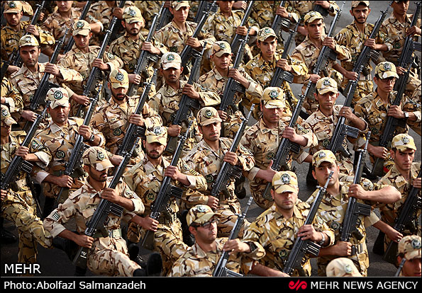 Soldiers Parade to Honor the Anniversary of Iran-Iraq War