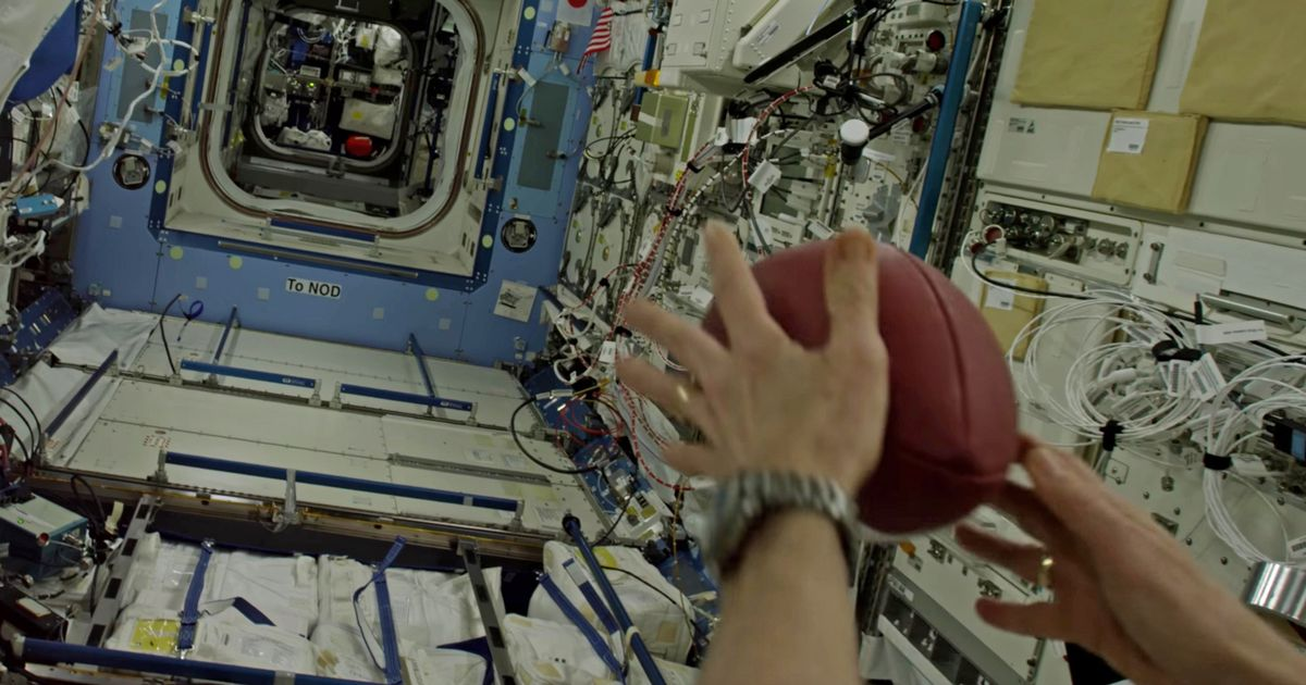 Astronaut Throws American Football Down the Length of the International Space Station and Reaches 564,644 Yards in Zero Gravity!